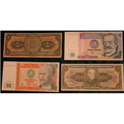 1950 Mexico One Peso Banknote, Good; 1987 Peru 10 & 50 Intis Banknotes, CU; & Series 4312a Brazil 5