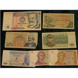 "(3) Different Croatia Banknotes, CU; ""Union of Burma Bank"", One Kyat, CU; Italy 1000 Lire Banknote;"
