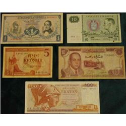 "Bank of Maroc 10 Dirhams, VG; 100 Greek Ekaton, EF; 1957 ""Landsbanki Islands-Sedlabankinn"" 5 Kronur;"
