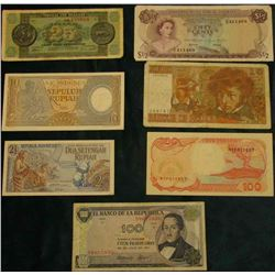 1971 Colombia Bank of the Republic 100 Pesos Oro note; 1992 Bank Indonesia 100 Rupiah, CU; 1961 & 19