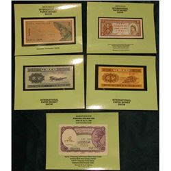 (5) Different Souvenir Cards from International Paper Money Shows holding CU Foreign Banknotes.