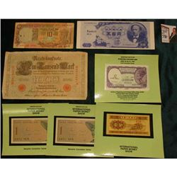 "(4) Souvenir Cards from International Paper Money Shows holding CU Foreign Banknotes; ""Eastco RCA"" """