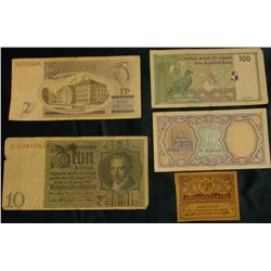 "2 Krooni Estonia Pre Euro Banknote, VG; 1924 Germany 10 Mark Reichsbanknote; ""The Arab republic of E"