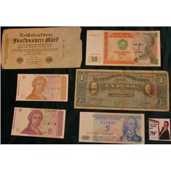 1914 Chihuahua, Mexico One Peso; (3) different 1991 Croatia Banknotes, CU; 1987 Peru 50 Intis bankno