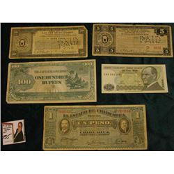 Burma World War II One Hundred Rupees Japanese Occupation Banknote; 1914 Chihuahua, Mexico One Peso;