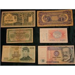 1987 Bank of Peru 10 Intis, CU; 1997 Chile 1000 Peso Banknote; 100 Grand Tainted Counterfeit Banknot