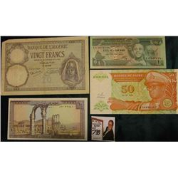 "1928 Bank of Algeria 20 Francs Banknote, VF; 1993 Bank of Zaire 50 Nouveaux, CU; ""Banque du Liban"" 1"