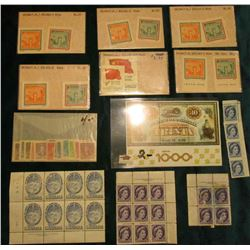 Group of Mint, Unused Canada Postage Stamps, some depicting Queen of England; Brazil Mint Sheet of ""