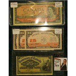 "1900 Dominion of Canada 25 Cent note, VF; (3) 25c ""Spirit Shinplaster"" Manitou Concession Scrip; & S"