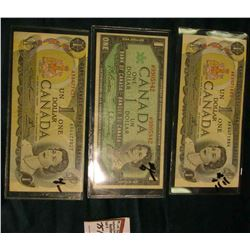 Series 1973 Bank of Canada One Dollar Note, VF; Series of 1967 Bank of Canada One Dollar Note, VF; &