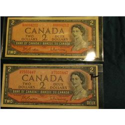 (2) Series 1954 Bank of Canada $2 Banknotes, VF-EF.