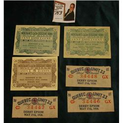 "(3) May 27th, 1936 ""Quebec unit 33 Official Receipt Derby Epsom(s); (2) 1920 era One Cent Scrip ""Run"