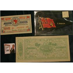 "Canada Flag Pennant; 1935 era ""Quebec Unit 33 Army & Navy Veterans in Canada"" One Dollar Scrip; & 18"