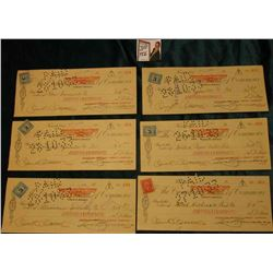 "(6) Early 1900 era Checks with 3c Excise Tax Stamps attached drawn on ""The Canadian Bank of Commerce"