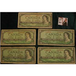 (5) Series 1954 Bank of Canada $1 Banknotes. Circulated.