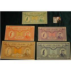 "Five-piece Set of ""Jason Islands"" Currency, (note states maybe Falkland Islands???) Includes 50 Penc"