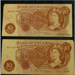 (2) (1960-70) Bank of England Ten Shilling Notes, F. Pick # 130.