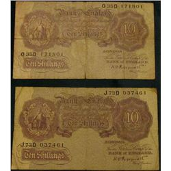 (2) (1948-60) Bank of England Ten Shilling Notes, F. Pick # 126.