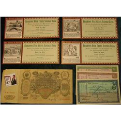 "(4) different ""The History of banking Brighton Five Cents Savings Bank…"" Cards; (3) different Nation"