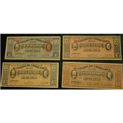 Four Note Set 1, 5, 10, & 20 Peso 1914 Revolutionary War Chihuahua Mexico Banknotes. All VF to EF.
