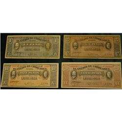 Four Note Set 1, 5, 10, & 20 Peso 1914 Revolutionary War Chihuahua Mexico Banknotes. All VG to near