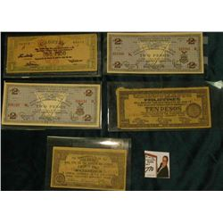 (5) Different Guerilla Banknotes from World War II Philippines Islands.