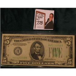 Series 1934A $5 Federal Reserve Note, Very Fine. Obv. Macro plate H47, rev. 1510.