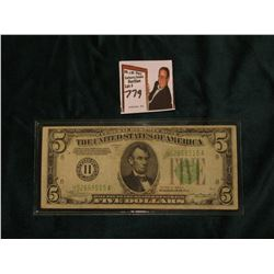 Series 1934A $5 Federal Reserve Note, Very Fine. Obv. Macro plate E63, rev. 1647.