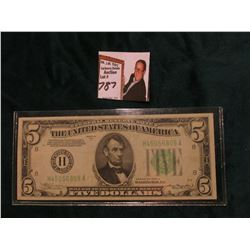 Series 1934A $5 Federal Reserve Note, EF. Obv. Macro plate A49, rev. 1521.