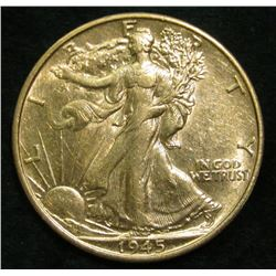 1945 S Walking Liberty Half Dollar. AU.