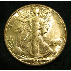 1945 D Walking Liberty Half Dollar. Choice AU.
