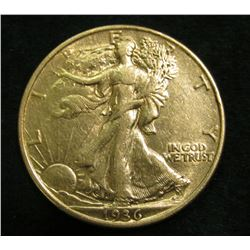 1936 P Walking Liberty Half Dollar. EF.