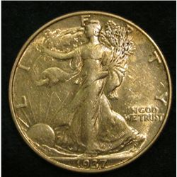 1937 P Walking Liberty Half Dollar. EF.