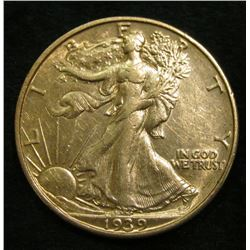 1939 D Walking Liberty Half Dollar. AU.