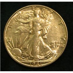 1941 D Walking Liberty Half Dollar. AU.