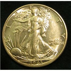 1943 D Walking Liberty Half Dollar. Brilliant uncirculated.