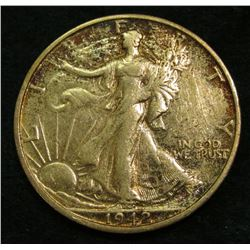 1942 S  Walking Liberty Half Dollar. EF.