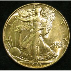 1943 P Walking Liberty Half Dollar. AU to Uncirculated.