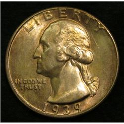 1939 D Washington Quarter. Toned Brilliant Uncirculated.