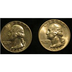 1948 P & 55 D Washington Quarters. Brilliant uncirculated.