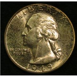1949 P Washington Quarter. Toned Brilliant Uncirculated.