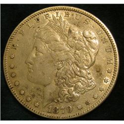 1879 P Morgan Silver Dollar. VF-EF.