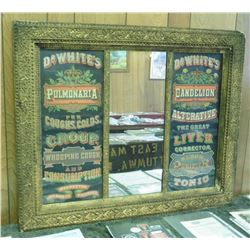 "Large Quack Doctor Mirror. The first panel reads ""Dr. White's Pulmonaria for Coughs, Colds, Croup, W"