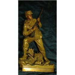 Hollow Bronze of a Civil War Infantryman with a Percussion Blackpowder Rifle. Part of fence and guns