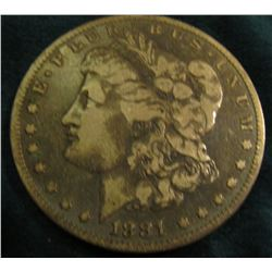1881 O Morgan Silver Dollar. Fine, dark.