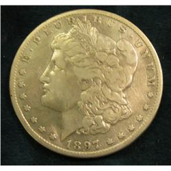 1897 S Morgan Silver Dollar. Fine, cleaned.