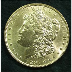 1897 P  Morgan Silver Dollar. Brilliant Unc.