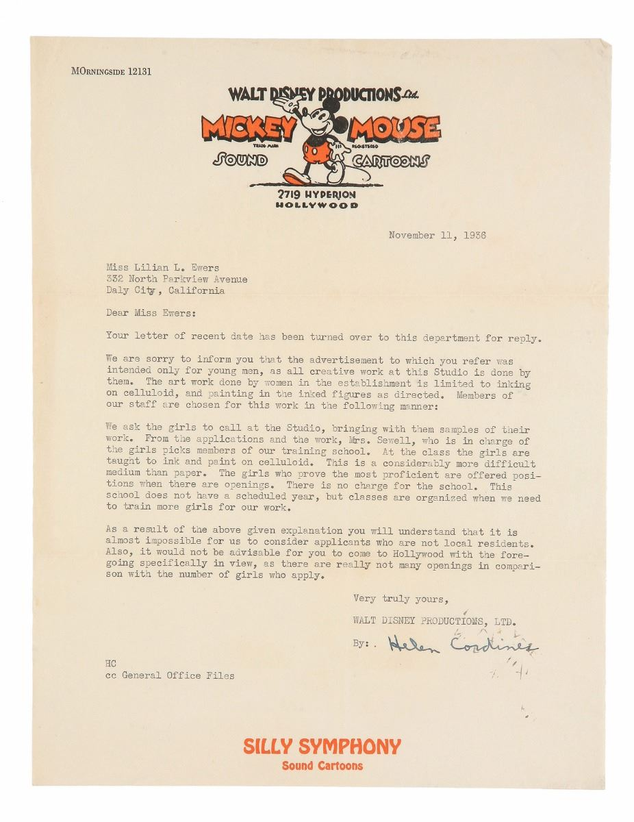 Disney Studio Rejection Letter