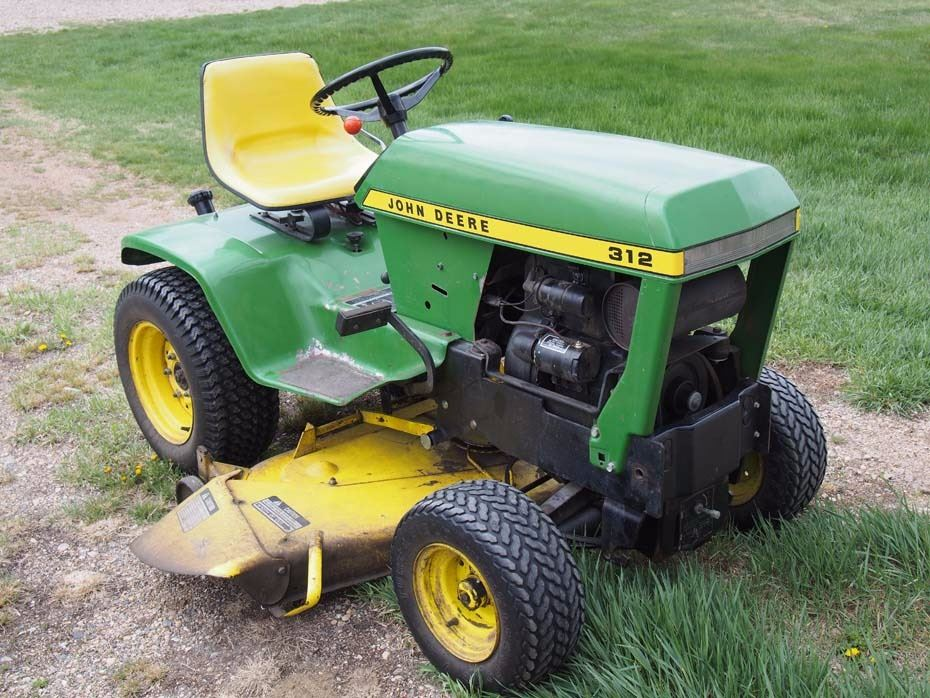 Video; Image 1 : John Deere 312 Garden Tractor And Attachments (Mower And  Tiller) ...
