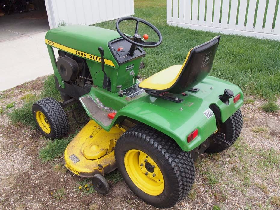 John Deere 312 Garden Tractor and Attachments Mower and Tiller